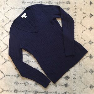 Ann Taylor Loft Cable V-Neck Sweater M